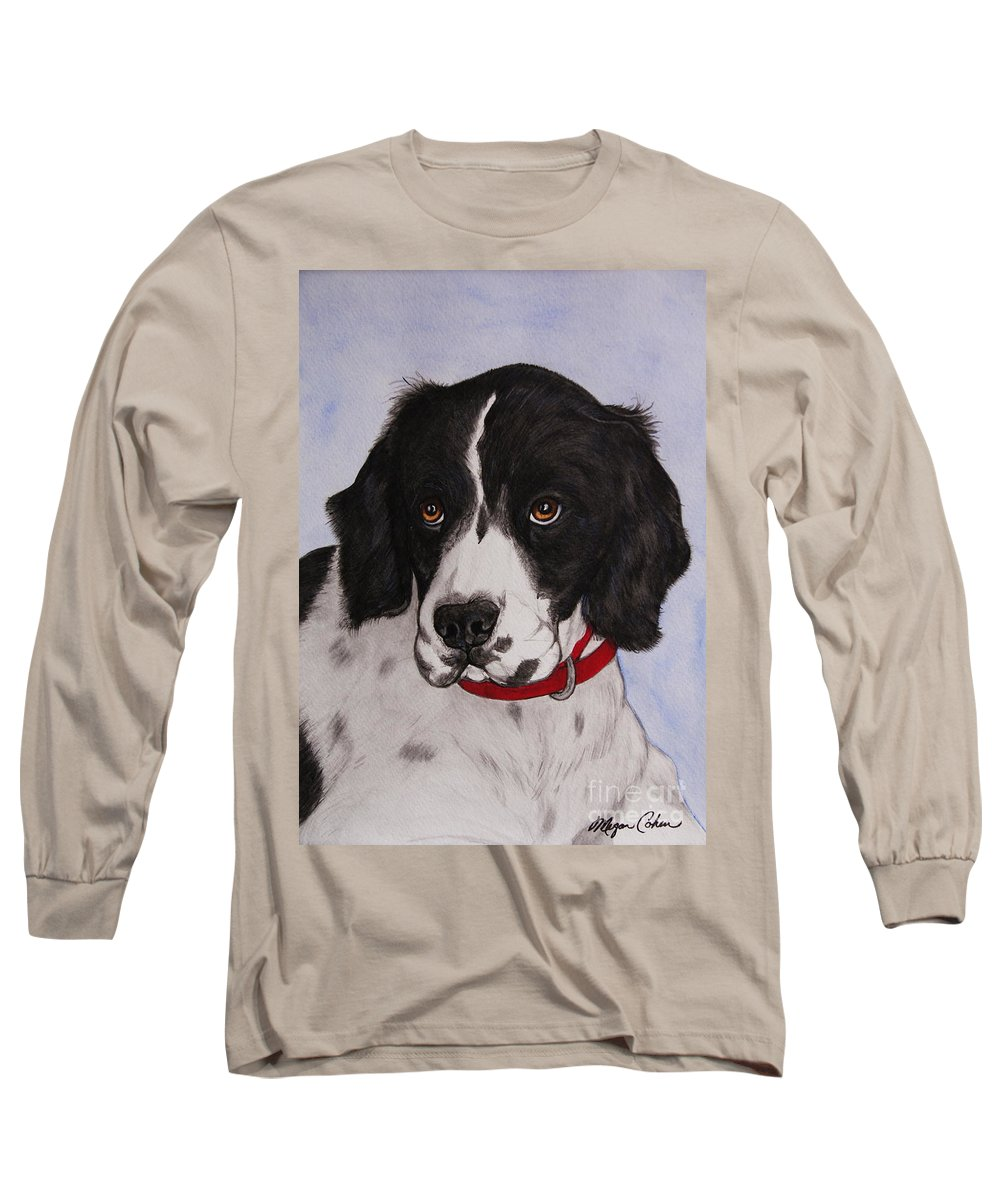 Dog Long Sleeve T-Shirt featuring the painting Pippy The Springer Spaniel by Megan Cohen