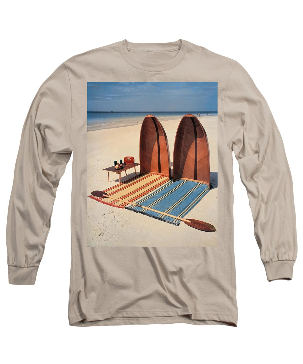 Accessories Long Sleeve T-Shirt featuring the photograph Pixie Collapsible Boat On The Beach by Lois and Joe Steinmetz