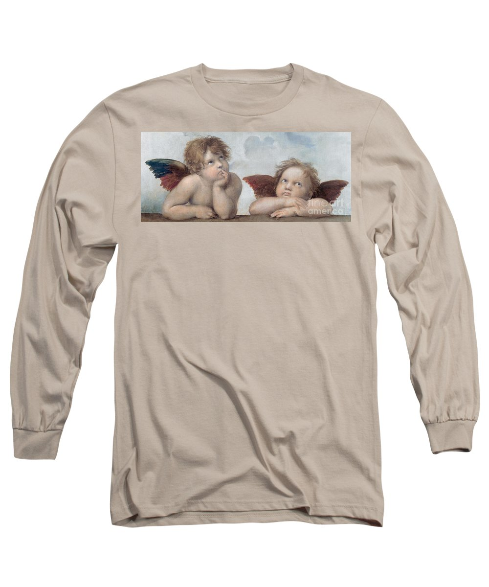 Putto Long Sleeve T-Shirt featuring the painting Putti Detail From The Sistine Madonna by Raphael