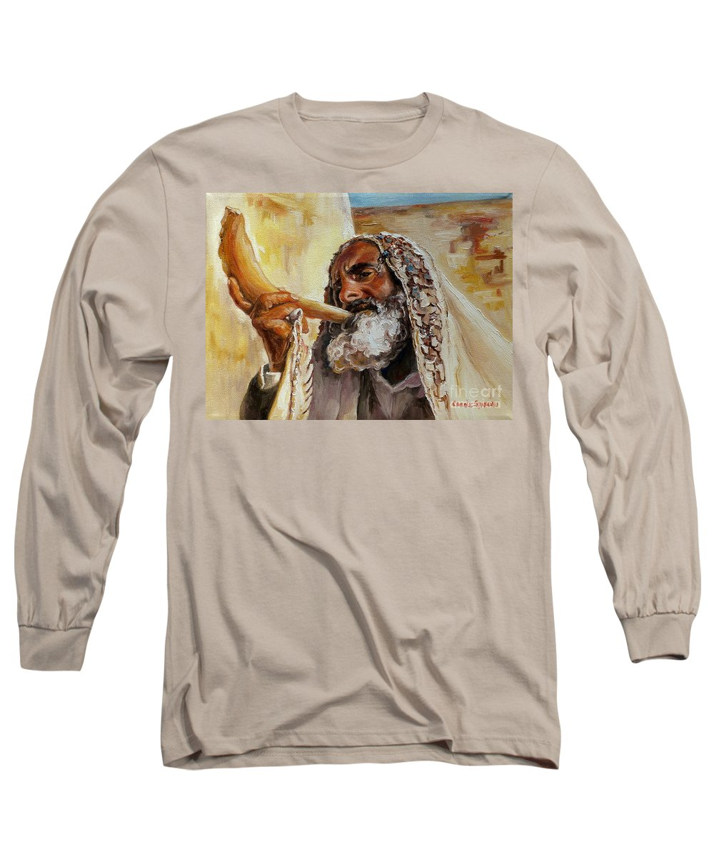 Rabbi Long Sleeve T-Shirt featuring the painting Rabbi Blowing Shofar by Carole Spandau