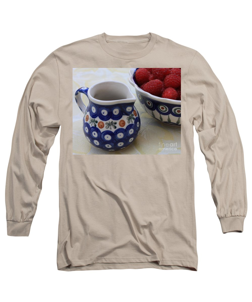 Raspberries Long Sleeve T-Shirt featuring the photograph Raspberries With Cream by Carol Groenen