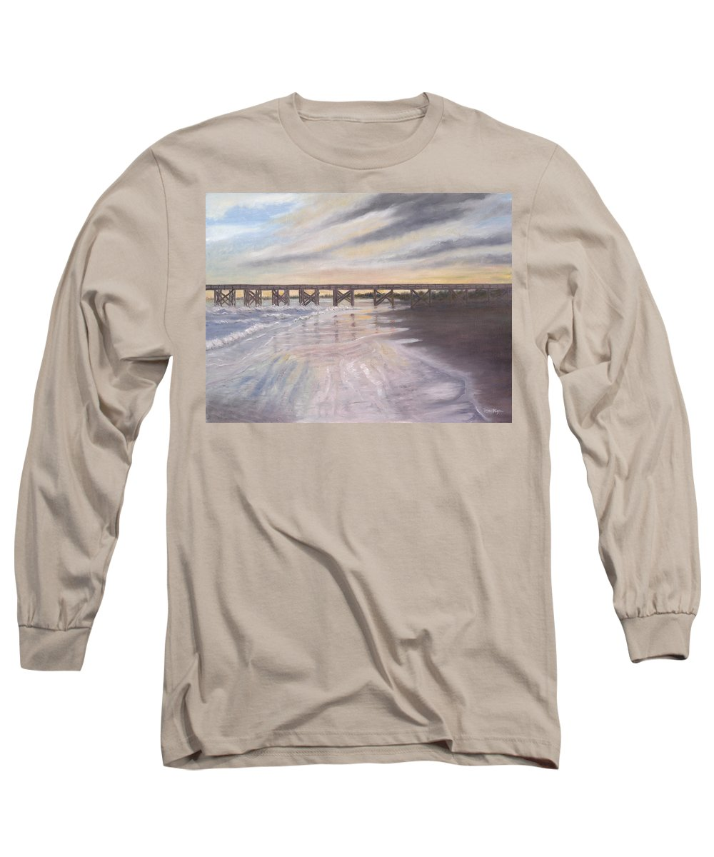 Beach; Pier; Low Country Long Sleeve T-Shirt featuring the painting Reflections by Ben Kiger