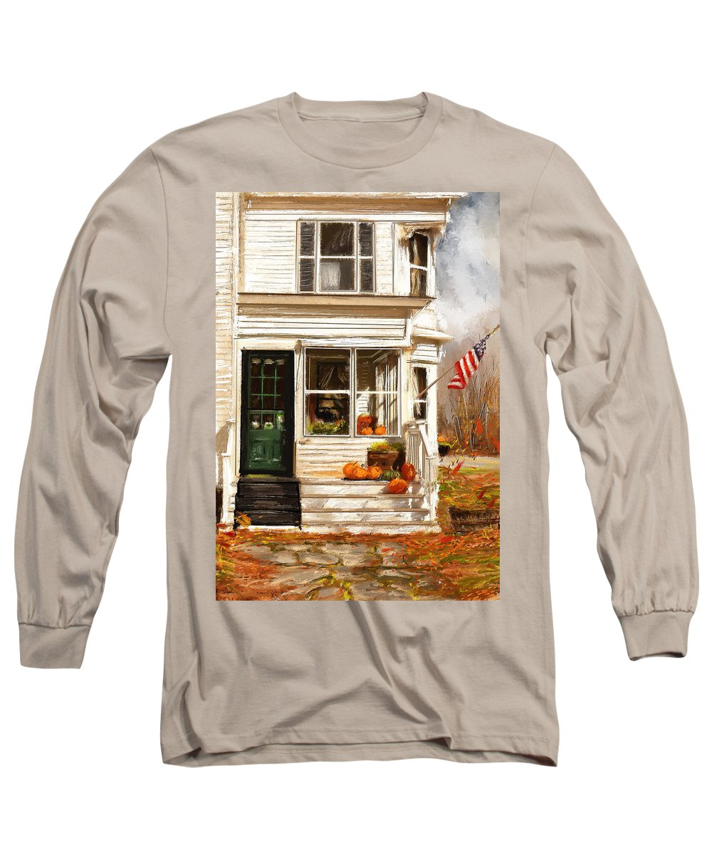 Porches Long Sleeve T-Shirt featuring the painting Remembering When- Porches Art by Lourry Legarde
