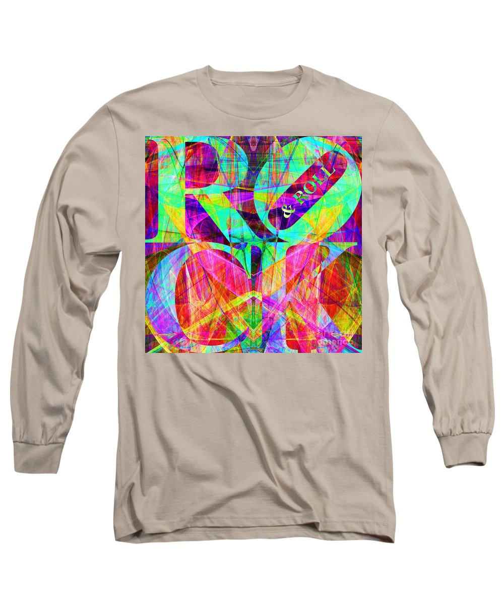Abstract Long Sleeve T-Shirt featuring the digital art Rock And Roll 20130708 Fractal by Wingsdomain Art and Photography