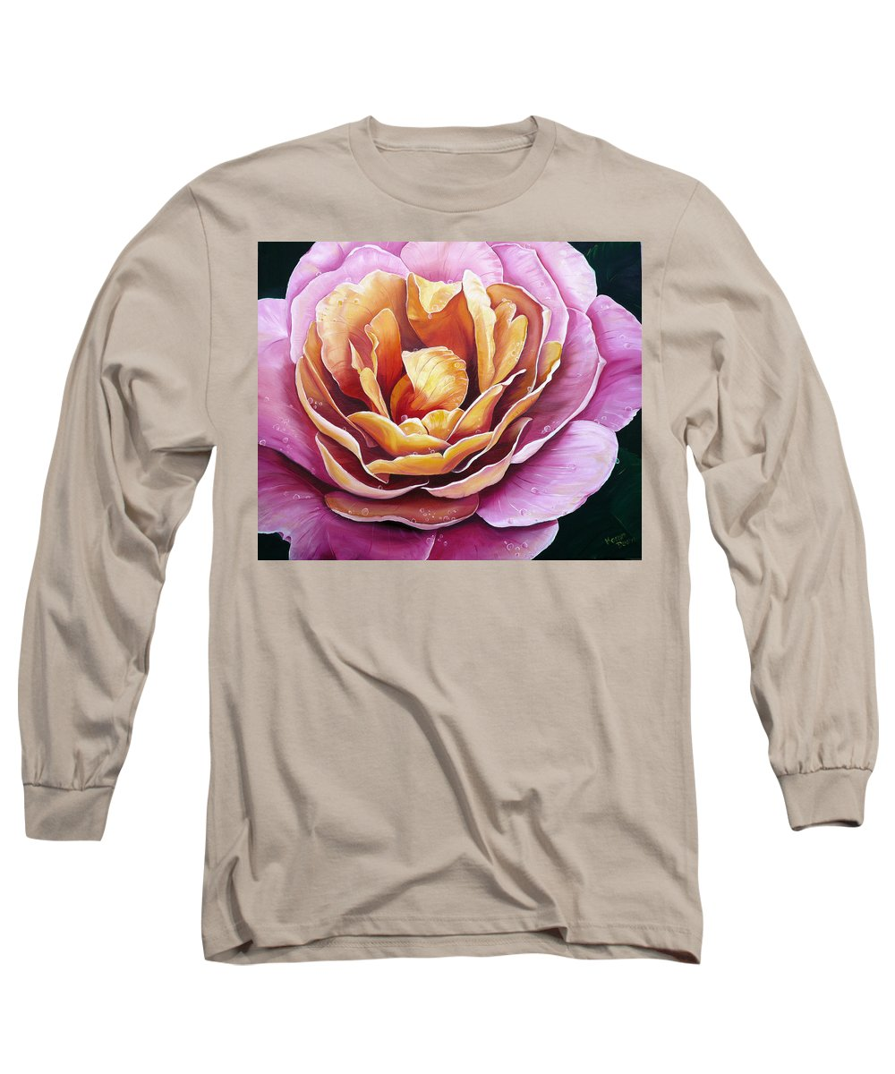 Rose Painting Pink Yellow Floral Painting Flower Bloom Botanical Painting Botanical Painting Long Sleeve T-Shirt featuring the painting Rosy Dew by Karin Dawn Kelshall- Best