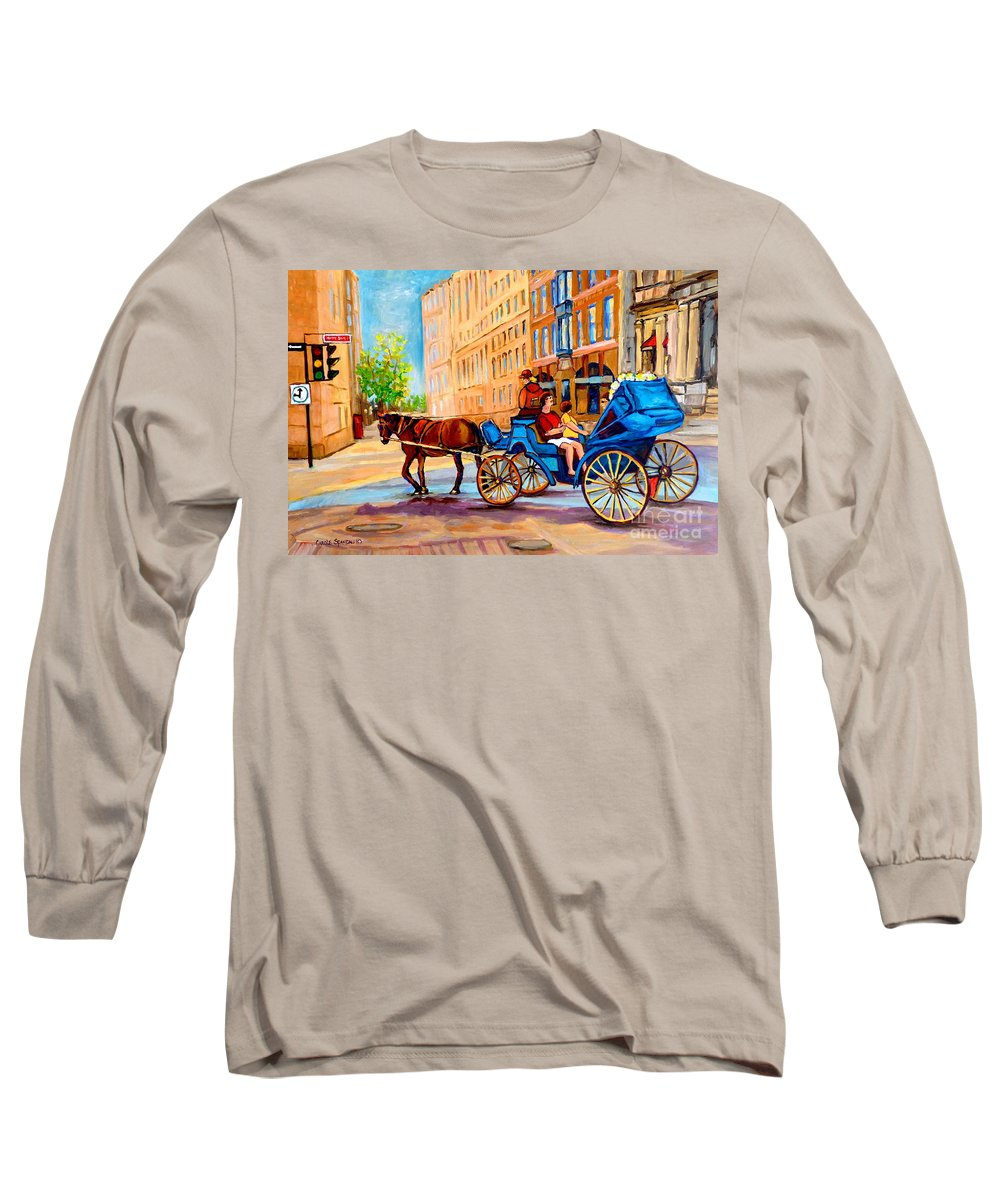 Rue Notre Dame Long Sleeve T-Shirt featuring the painting Rue Notre Dame Caleche Ride by Carole Spandau