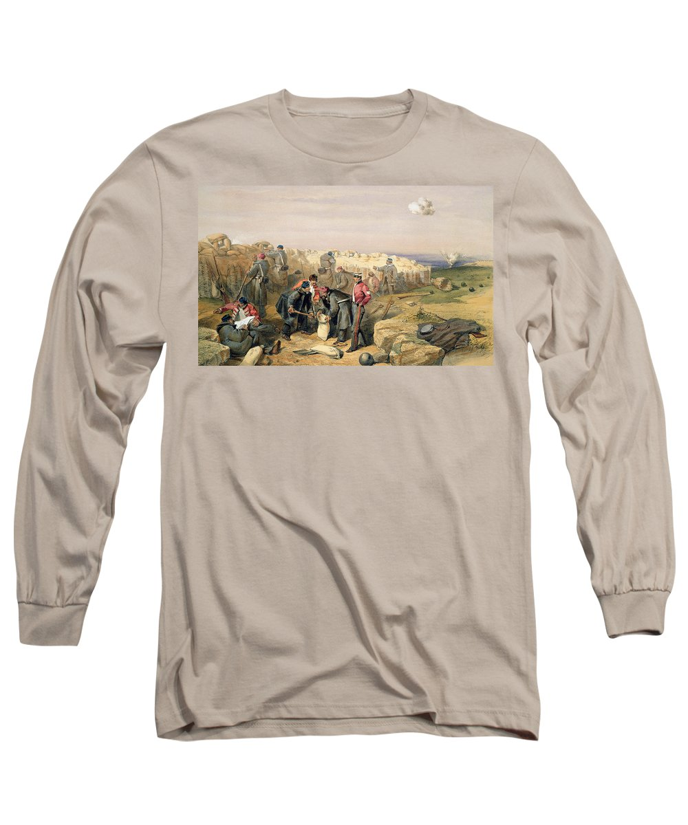 Front Line Long Sleeve T-Shirt featuring the drawing Russian Rifle Pit , Plate From The Seat by William 'Crimea' Simpson