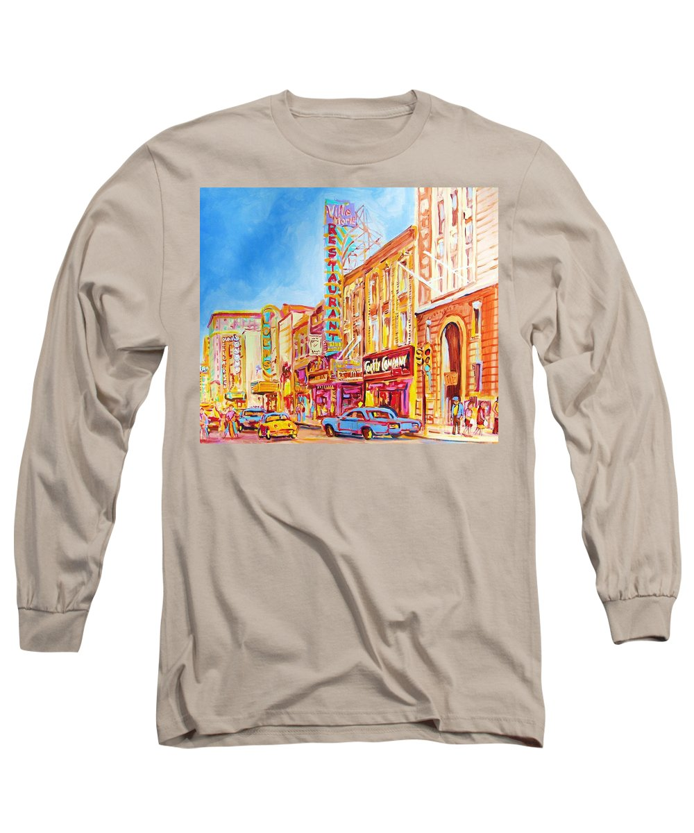 Paintings Of Montreal Long Sleeve T-Shirt featuring the painting Saint Catherine Street Montreal by Carole Spandau