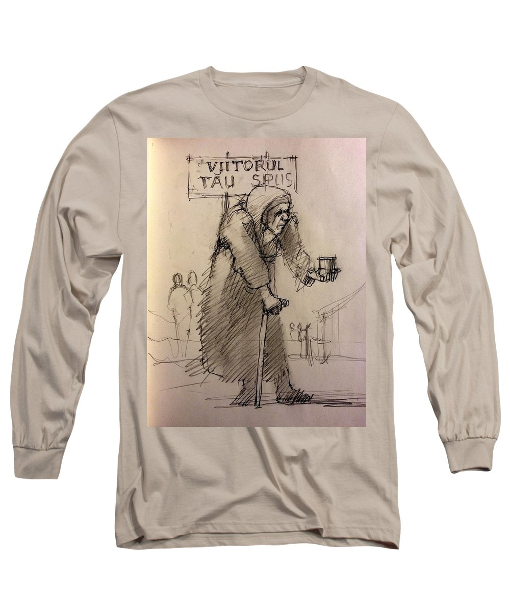 Albania Long Sleeve T-Shirt featuring the drawing Seer by H James Hoff