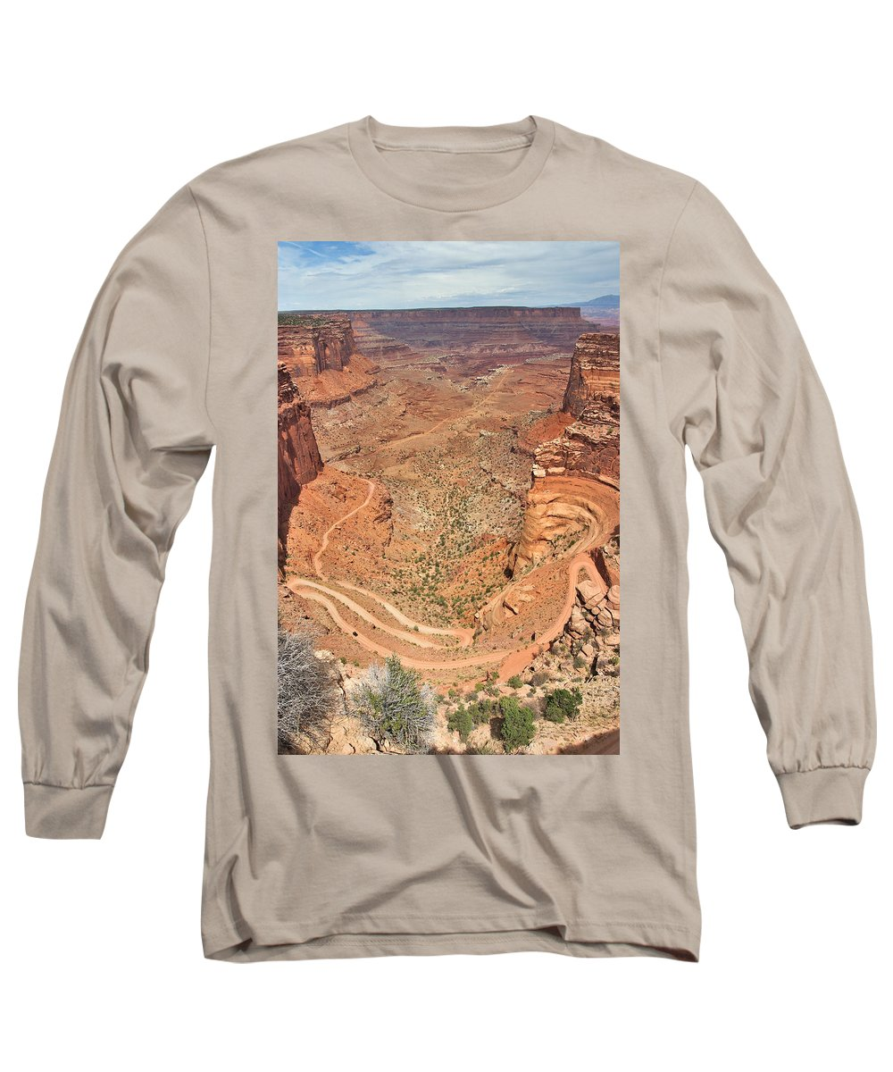 3scape Long Sleeve T-Shirt featuring the photograph Shafer Trail by Adam Romanowicz