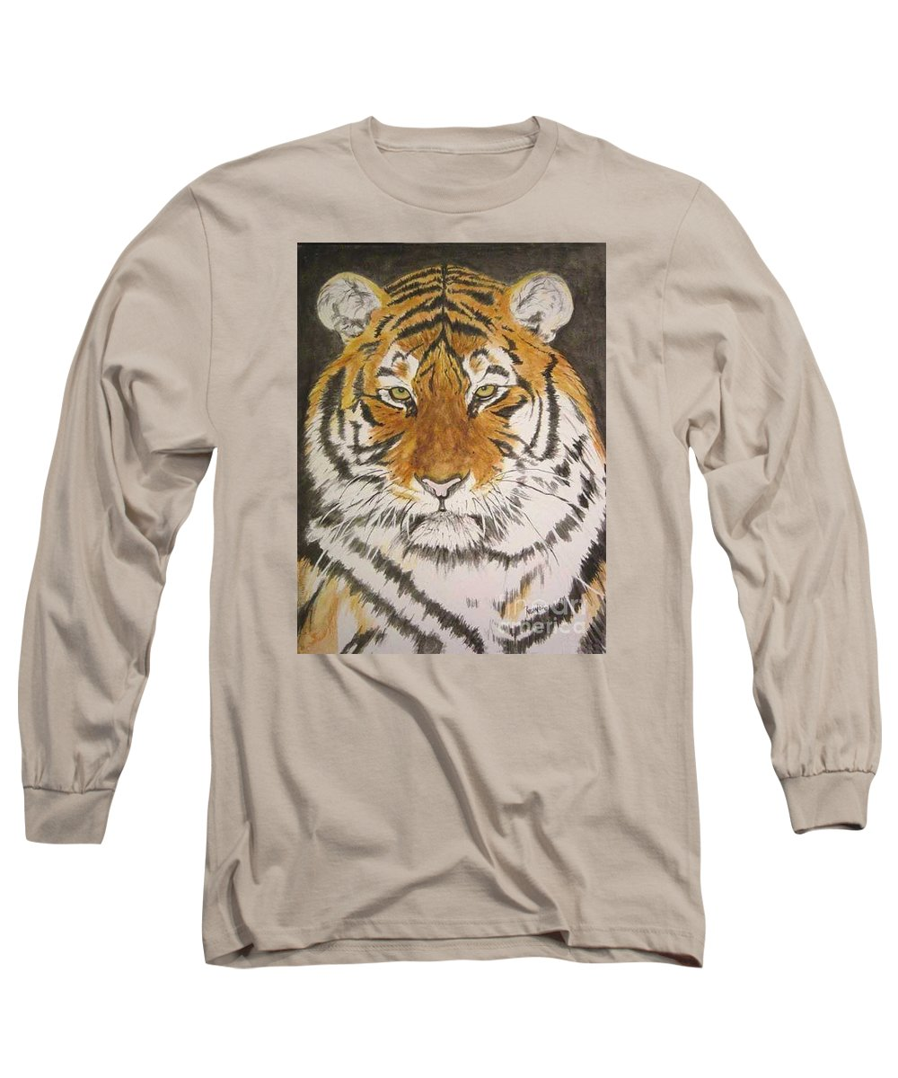 Siberian Tiger Long Sleeve T-Shirt featuring the painting Siberian Tiger by Regan J Smith
