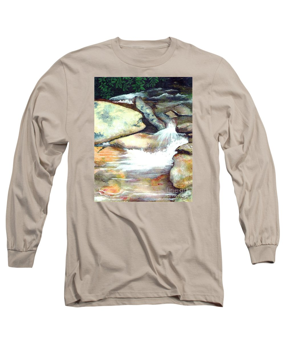 Fine Art Long Sleeve T-Shirt featuring the painting Smoky Mountains Waterfall by Patricia Griffin Brett