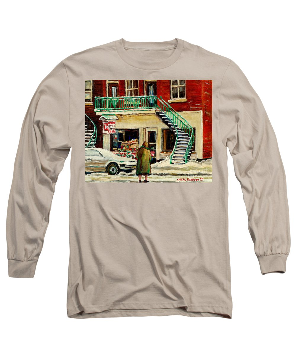 Montreal Long Sleeve T-Shirt featuring the painting Snowing At The Five And Dime by Carole Spandau