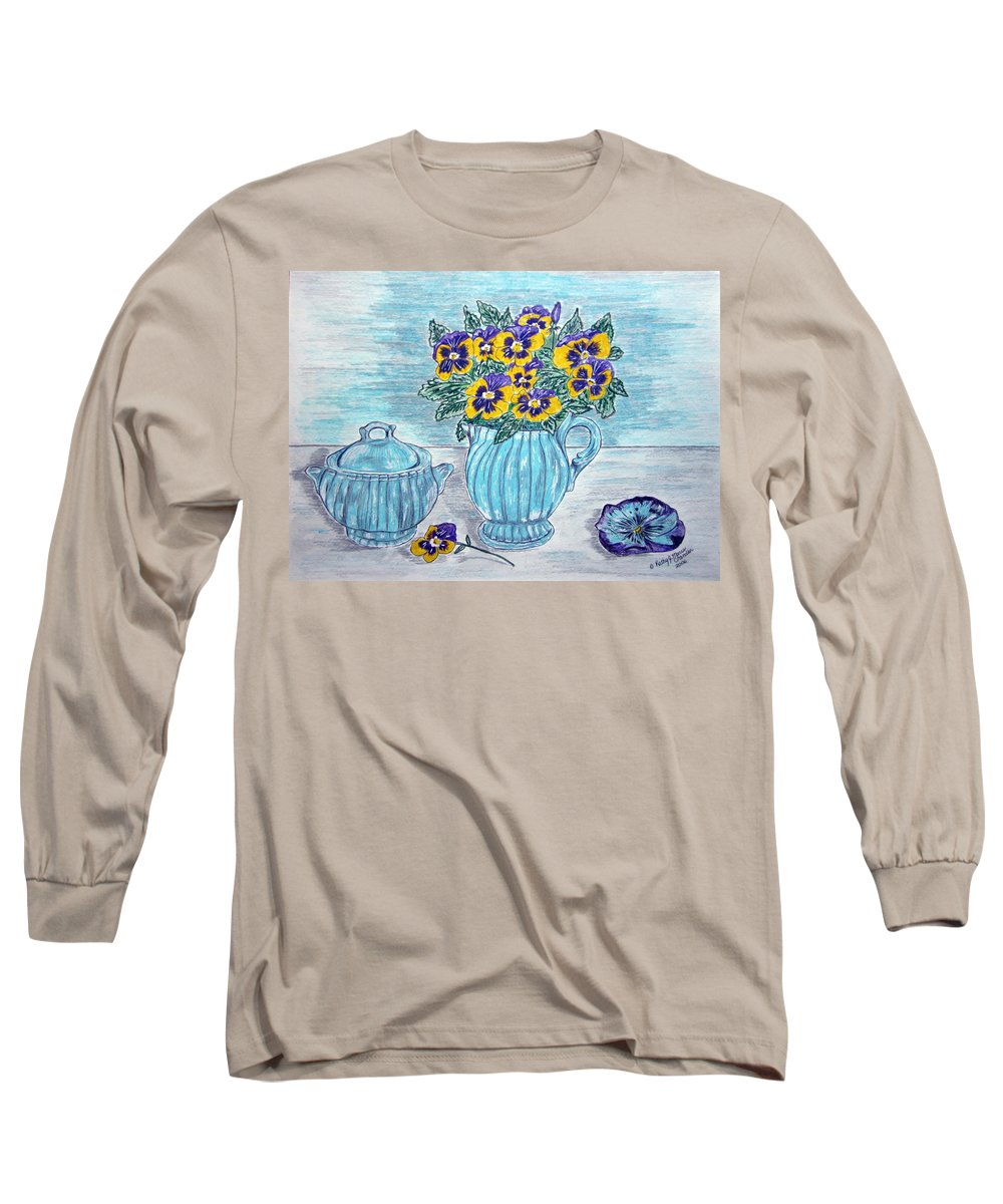 Stangl Pottery Long Sleeve T-Shirt featuring the painting Stangl Pottery And Pansies by Kathy Marrs Chandler