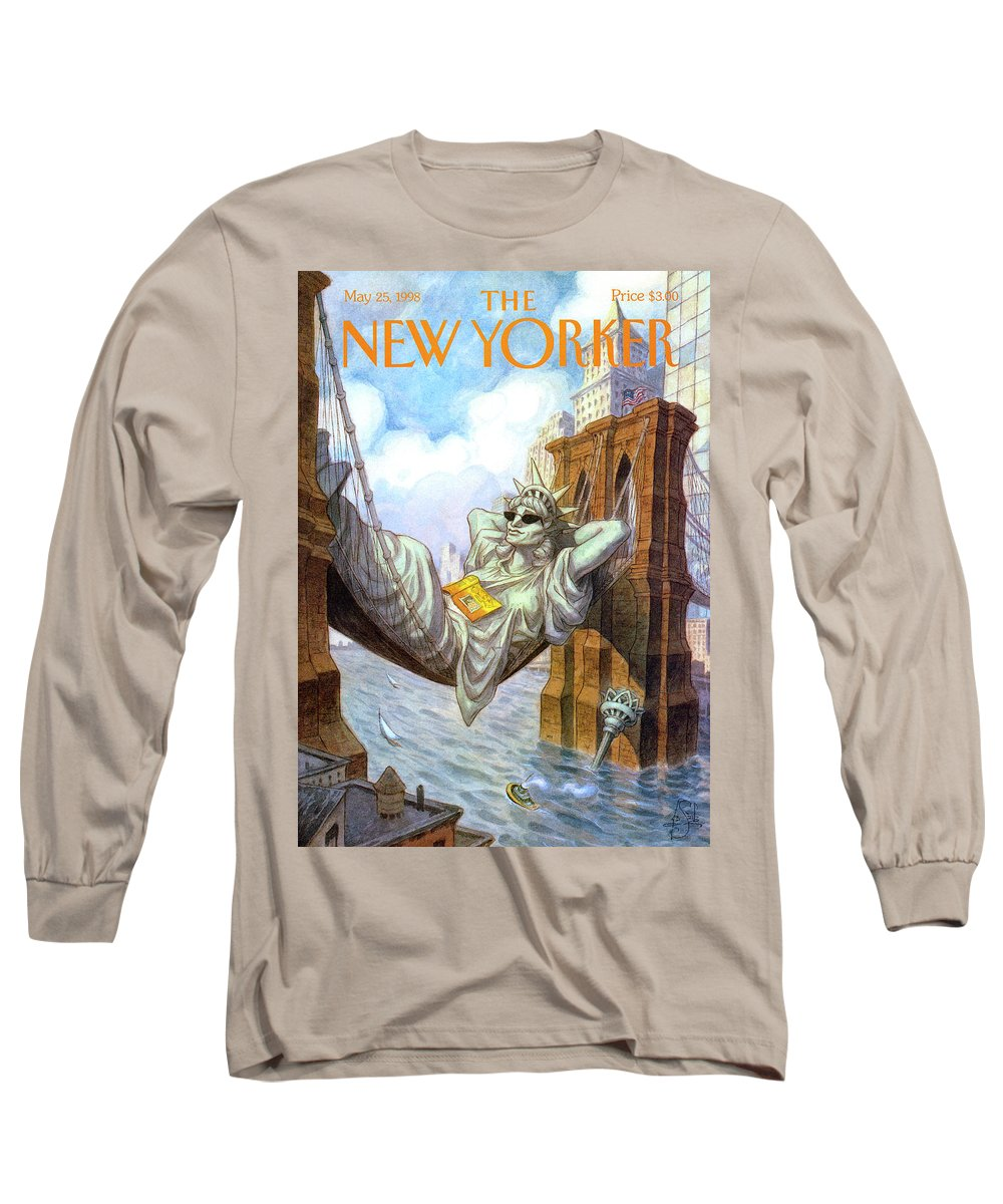 Liberty Long Sleeve T-Shirt featuring the painting Statue Of Liberty Lounges Between The Brooklyn by Peter de Seve