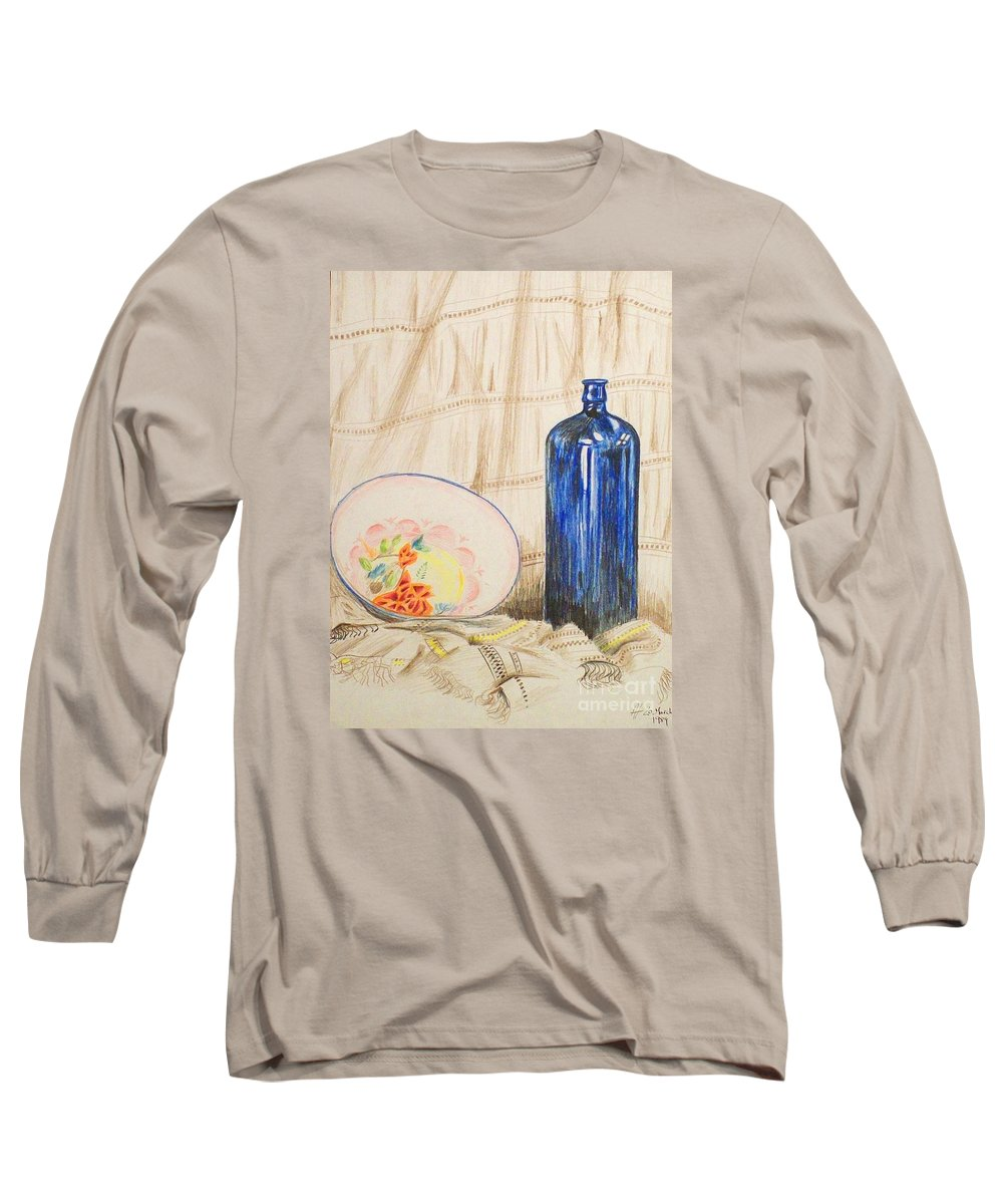 Still-life Long Sleeve T-Shirt featuring the drawing Still-life With Blue Bottle by Alan Hogan