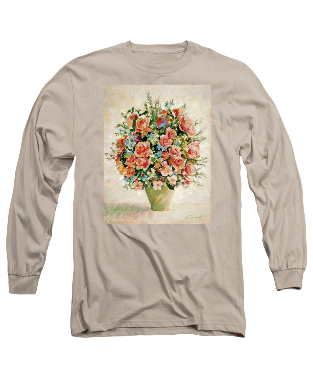 Flowers Long Sleeve T-Shirt featuring the painting Still Life With Roses by Iliyan Bozhanov