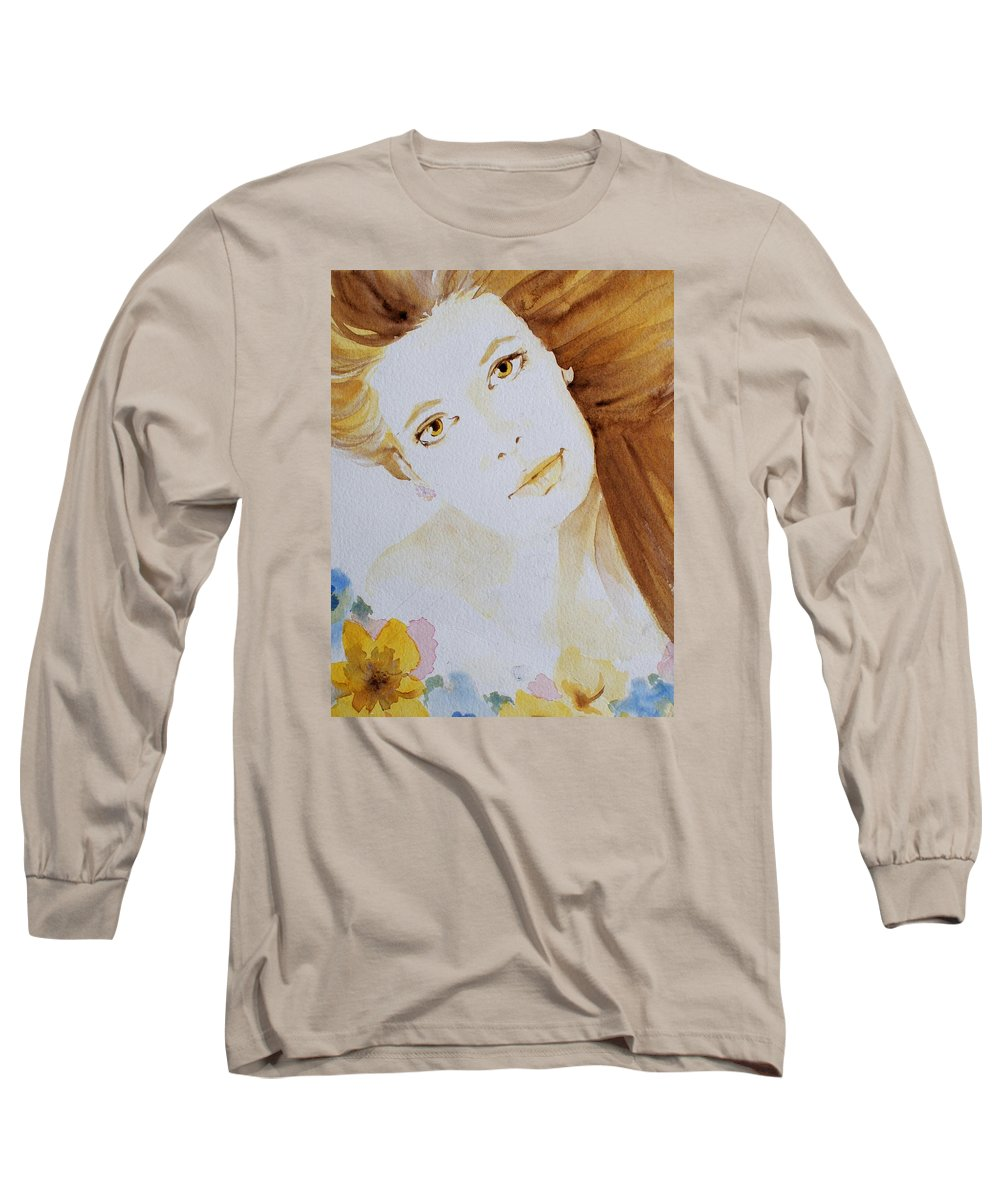 Watercolour Long Sleeve T-Shirt featuring the painting Still Waters' Reflection by Janice Gell
