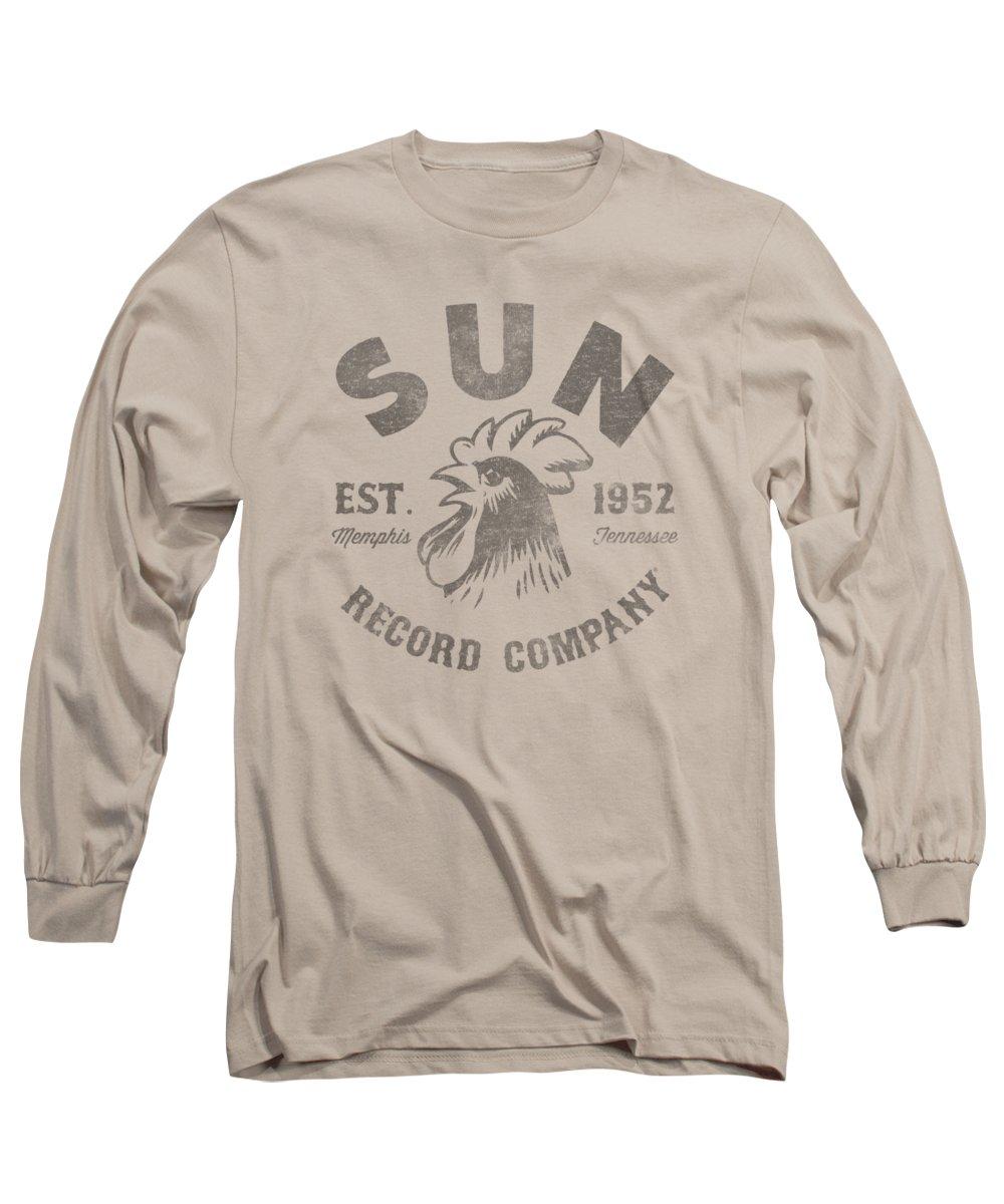 Sun Record Company Long Sleeve T-Shirt featuring the digital art Sun - Vintage Logo by Brand A
