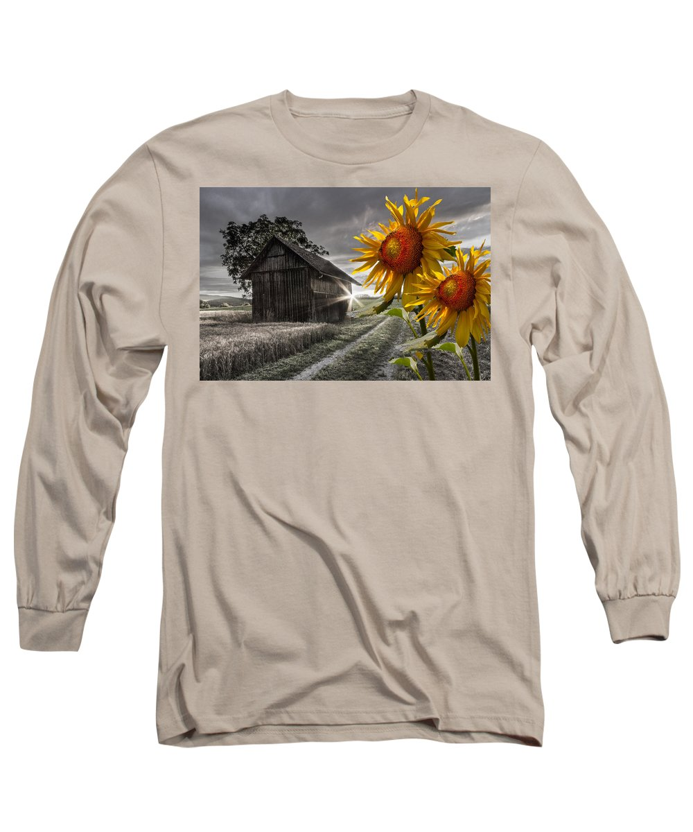 Appalachia Long Sleeve T-Shirt featuring the photograph Sunflower Watch by Debra and Dave Vanderlaan