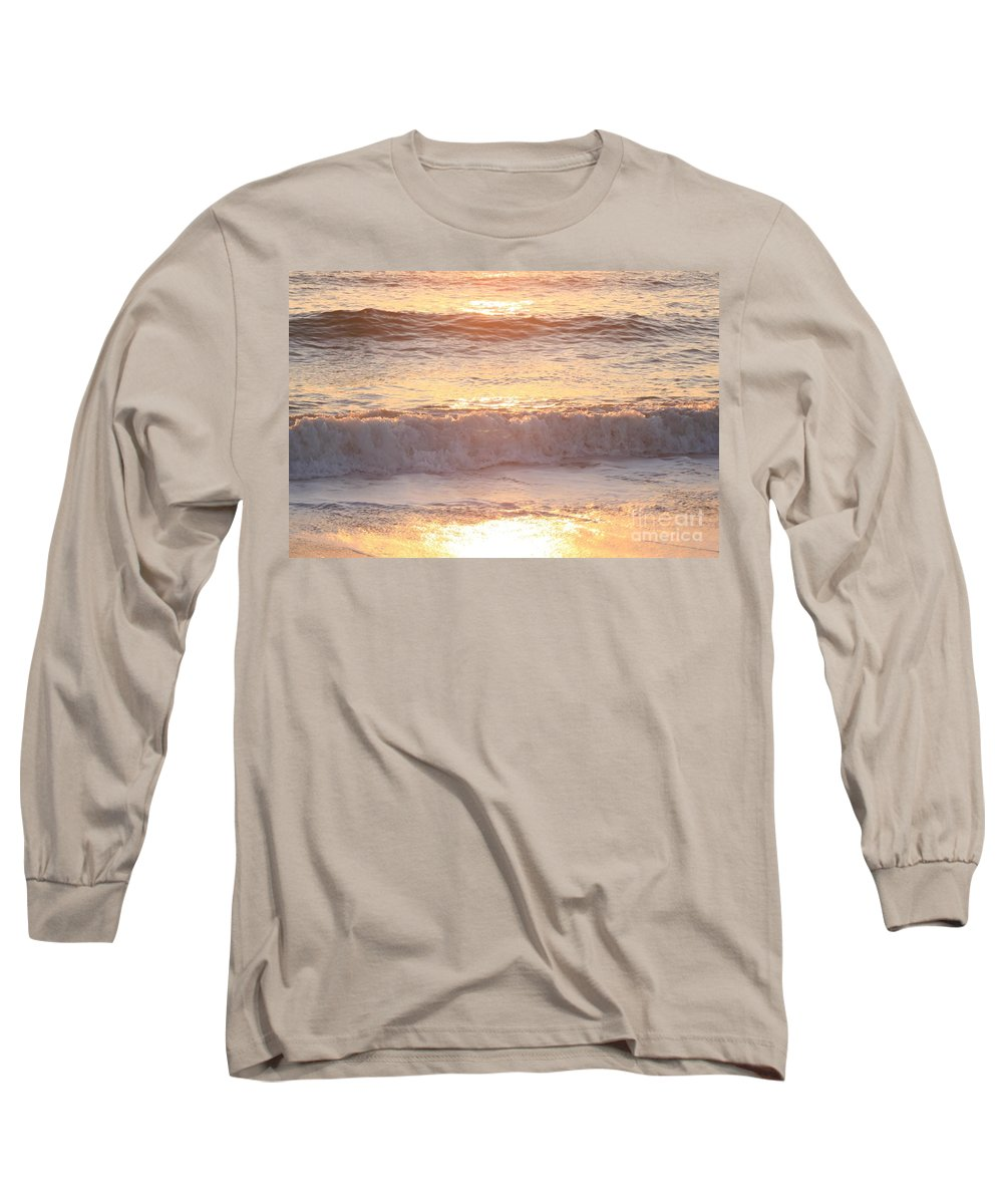 Waves Long Sleeve T-Shirt featuring the photograph Sunrise Waves by Nadine Rippelmeyer