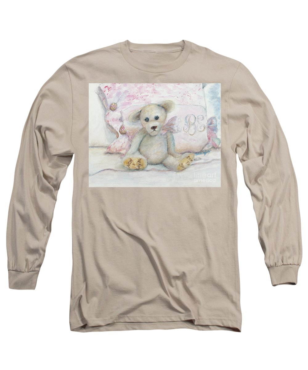 Teddy Bear Long Sleeve T-Shirt featuring the painting Teddy Friend by Nadine Rippelmeyer