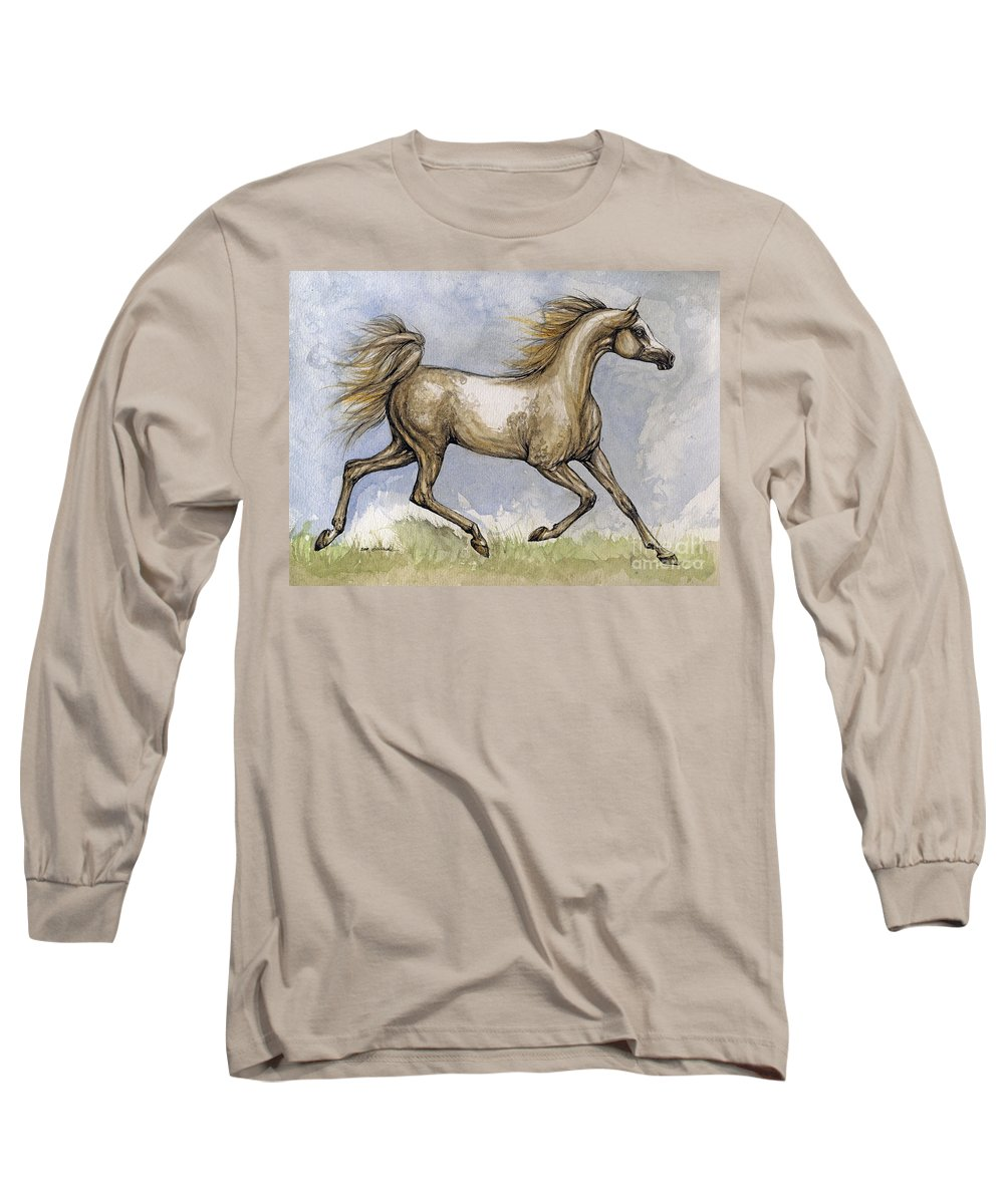 Mare Long Sleeve T-Shirt featuring the painting The Arabian Mare Running by Angel Tarantella