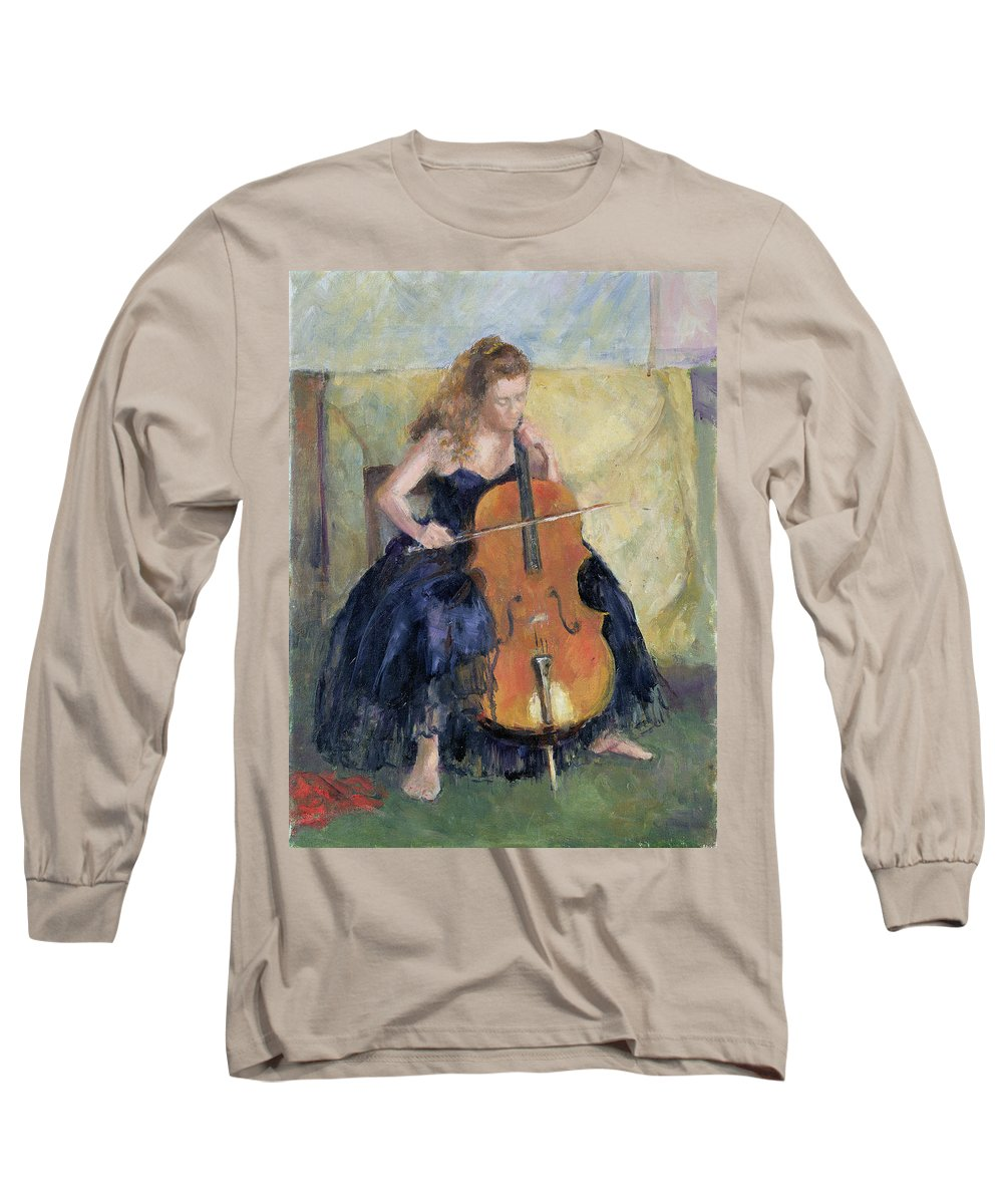 Cello Long Sleeve T-Shirt featuring the painting The Cello Player, 1995 by Karen Armitage