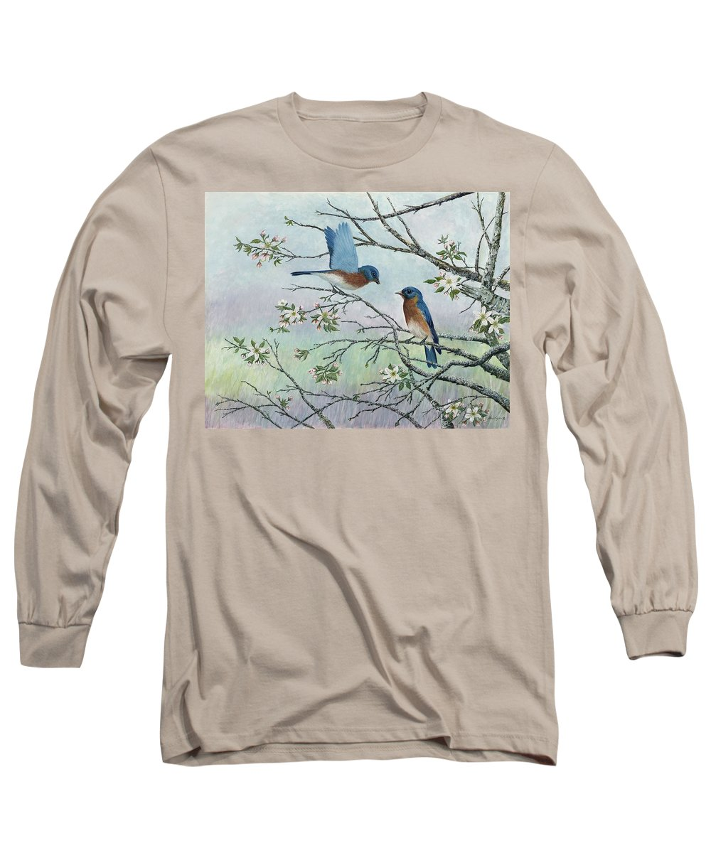 Bluebirds; Trees; Wildlife Long Sleeve T-Shirt featuring the painting The Gift by Ben Kiger