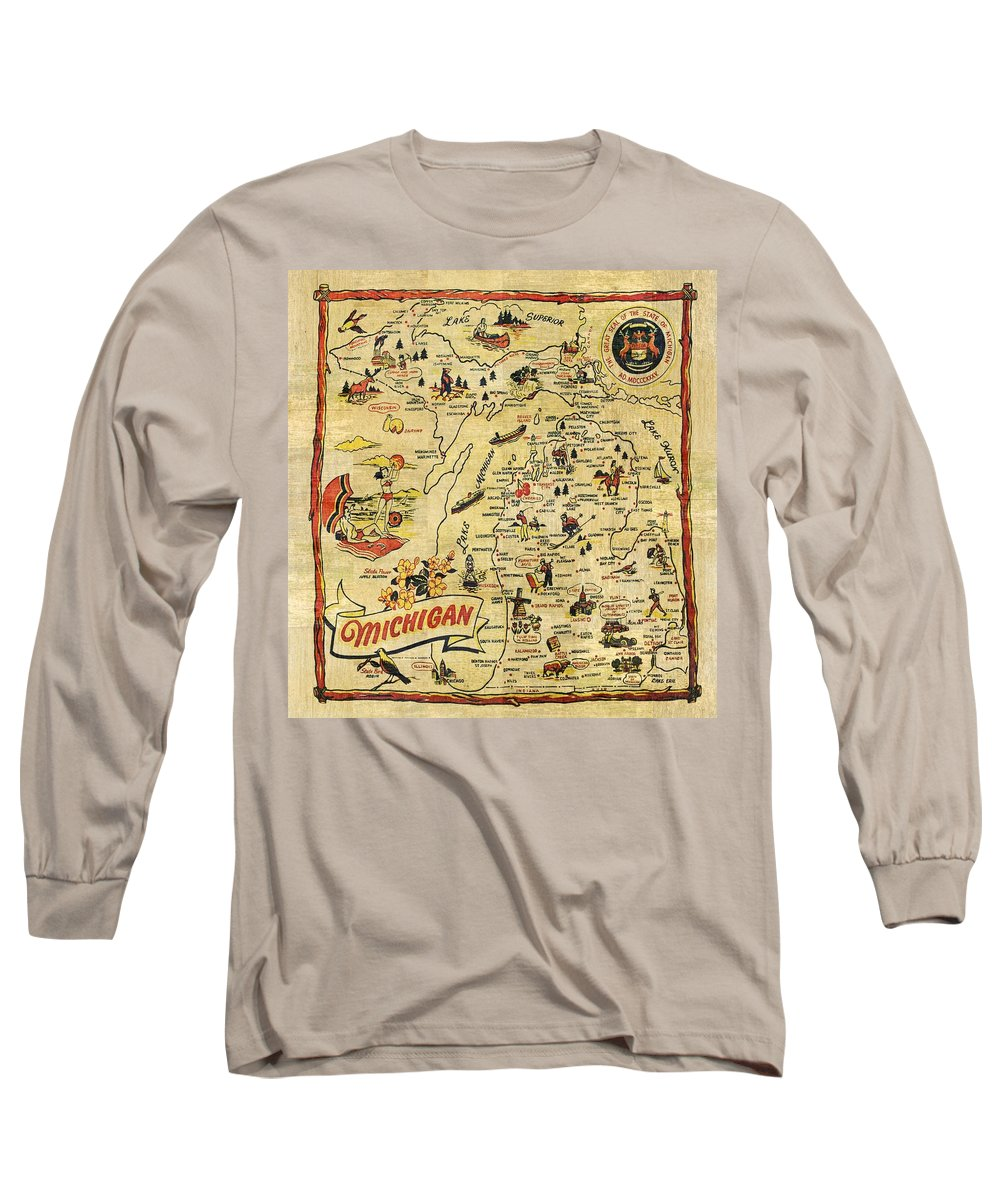 Michigan Long Sleeve T-Shirt featuring the painting The Great Lakes State by Michelle Calkins