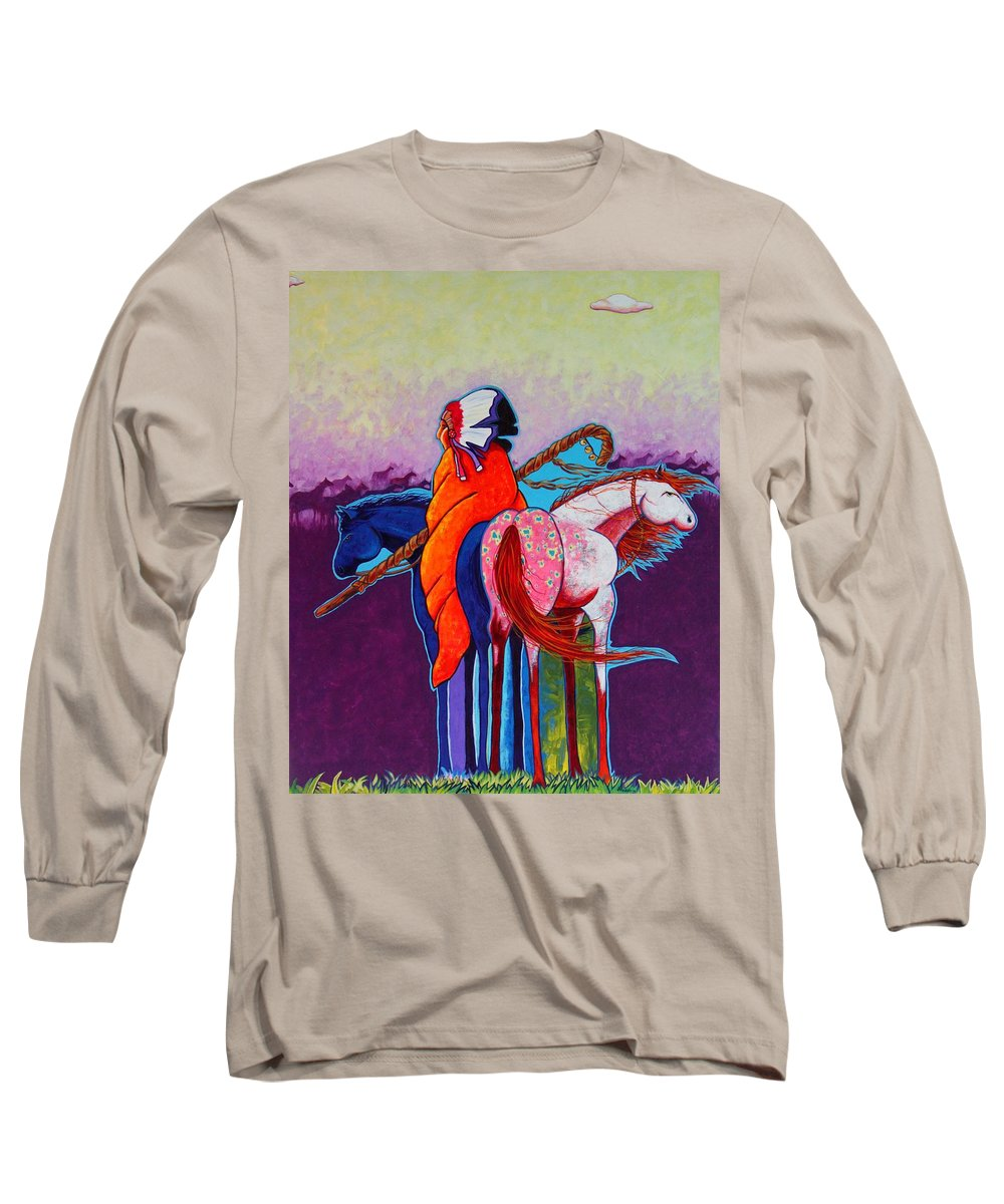 Native American Long Sleeve T-Shirt featuring the painting The Peacemakers Gift by Joe Triano
