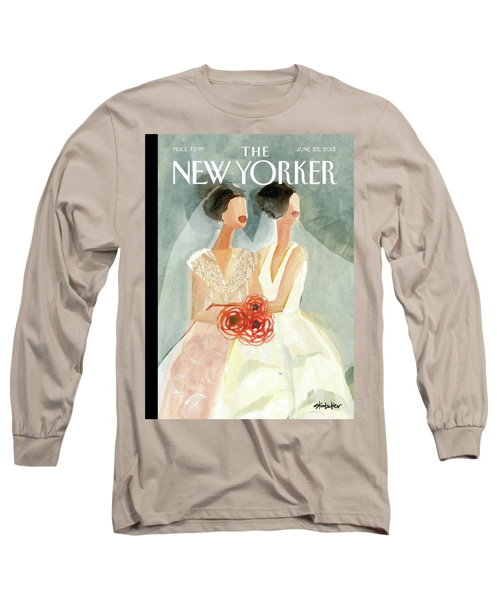 June Brides Long Sleeve T-Shirt featuring the painting June Brides by Gayle Kabaker