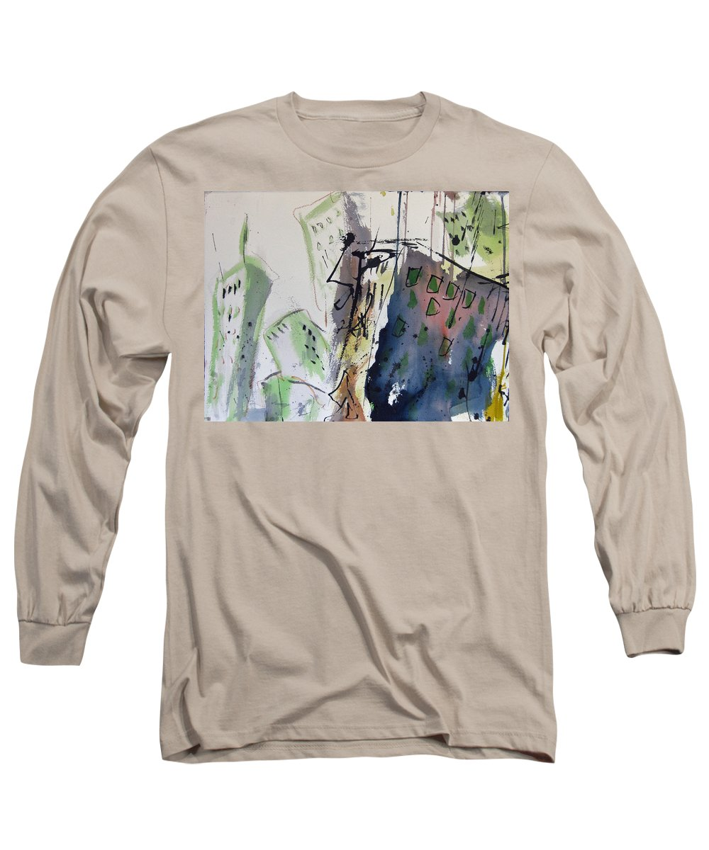 City Long Sleeve T-Shirt featuring the painting Uptown by Robert Joyner