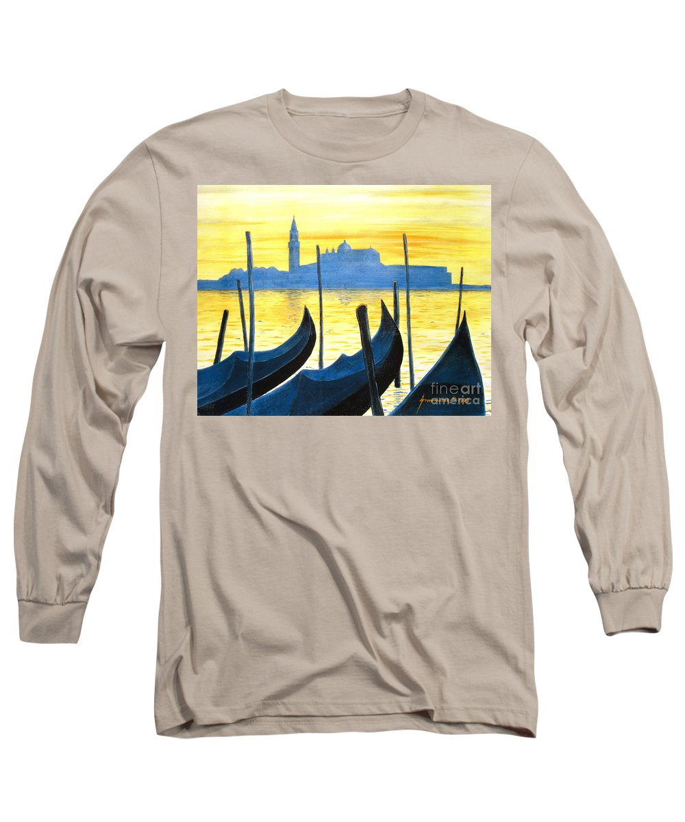 Venice Long Sleeve T-Shirt featuring the painting Venezia Venice Italy by Jerome Stumphauzer