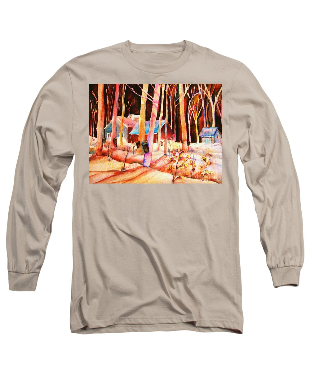 Montreal Long Sleeve T-Shirt featuring the painting Vermont Maple Syrup by Carole Spandau