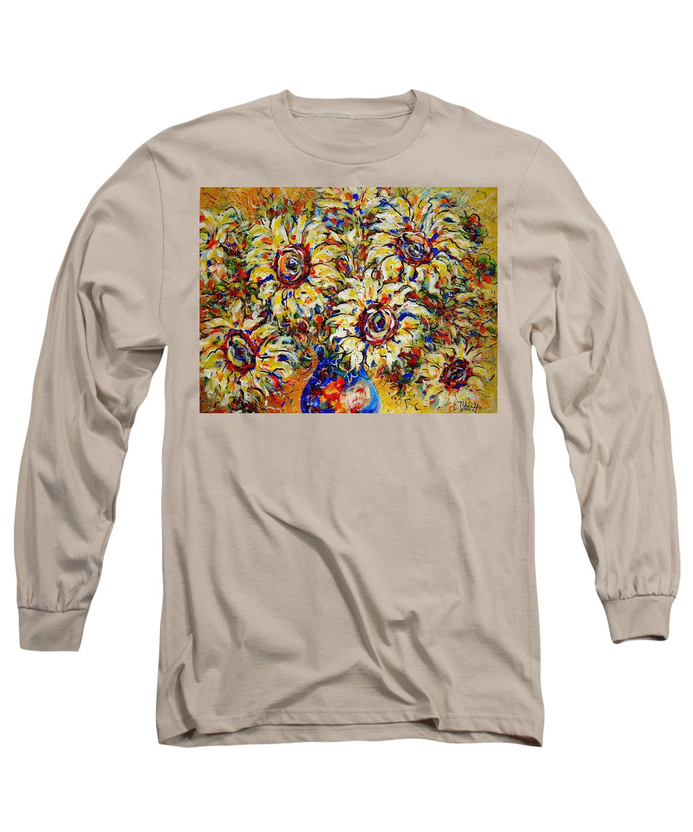Flowers Long Sleeve T-Shirt featuring the painting Vibrant Sunflower Essence by Natalie Holland