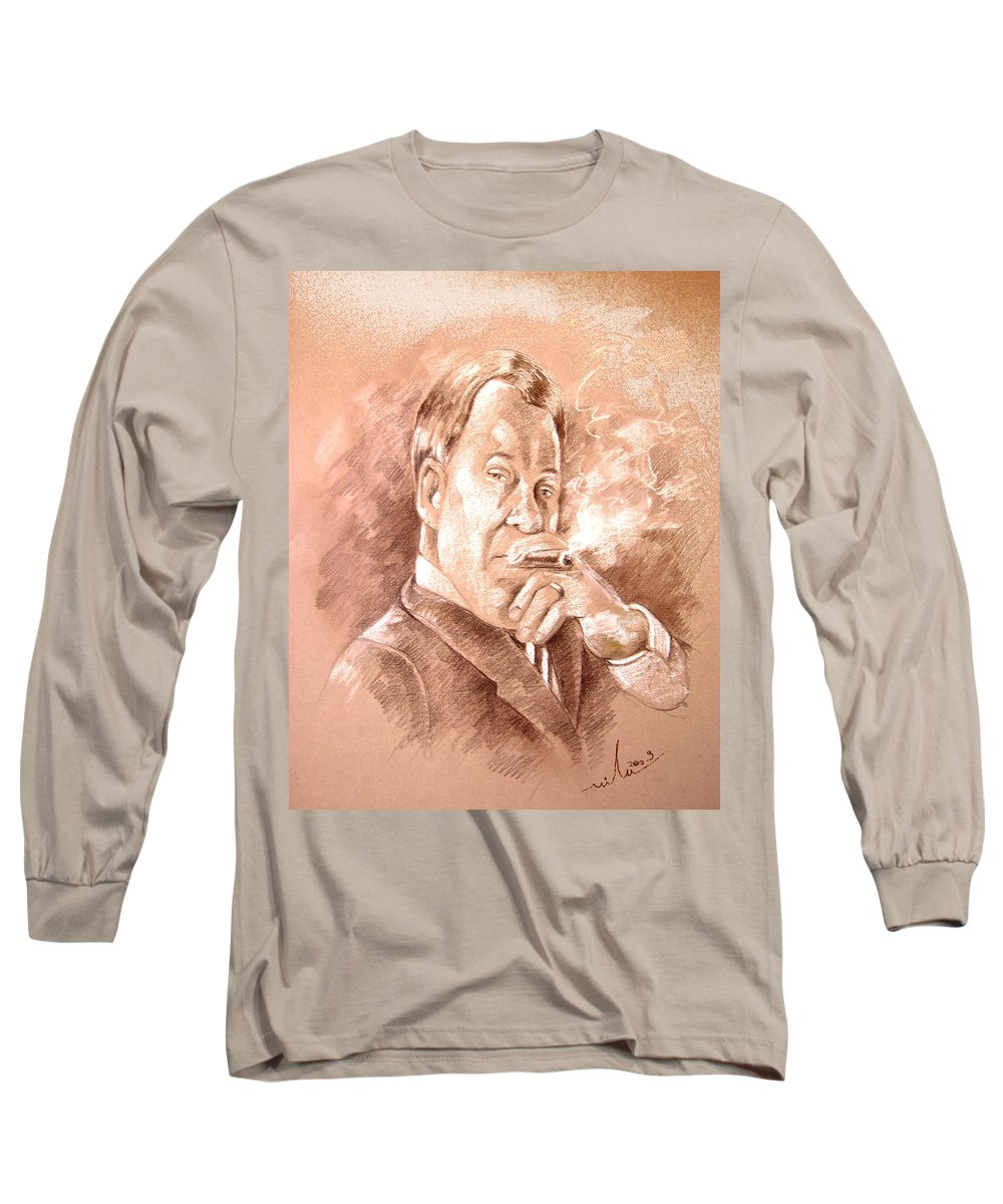 Portrait William Shatner Long Sleeve T-Shirt featuring the painting William Shatner As Denny Crane In Boston Legal by Miki De Goodaboom