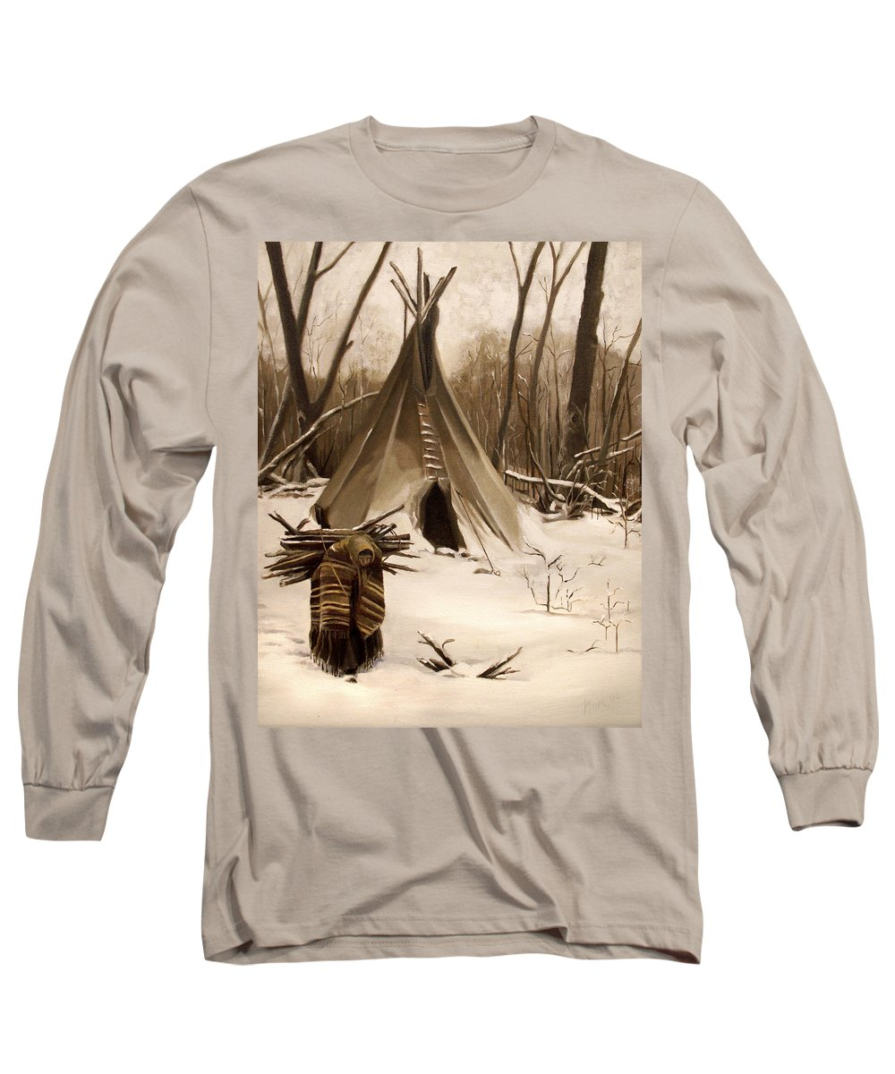 Native American Long Sleeve T-Shirt featuring the painting Wood Gatherer by Nancy Griswold