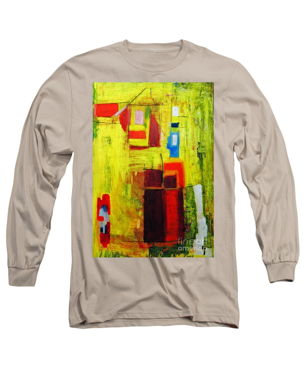 Abstract Painting Long Sleeve T-Shirt featuring the painting Yellow by Jeff Barrett