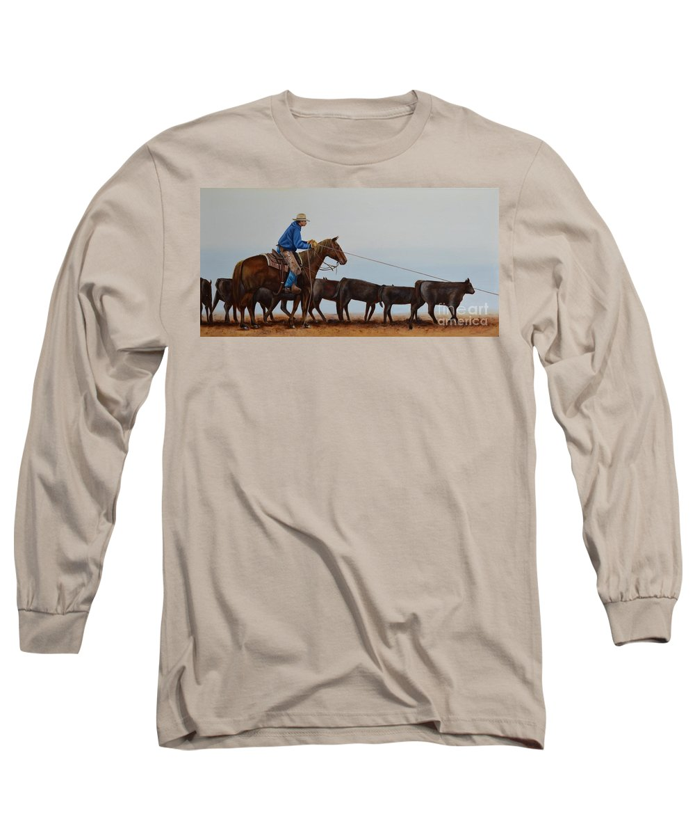 Art Long Sleeve T-Shirt featuring the painting You're Next by Mary Rogers