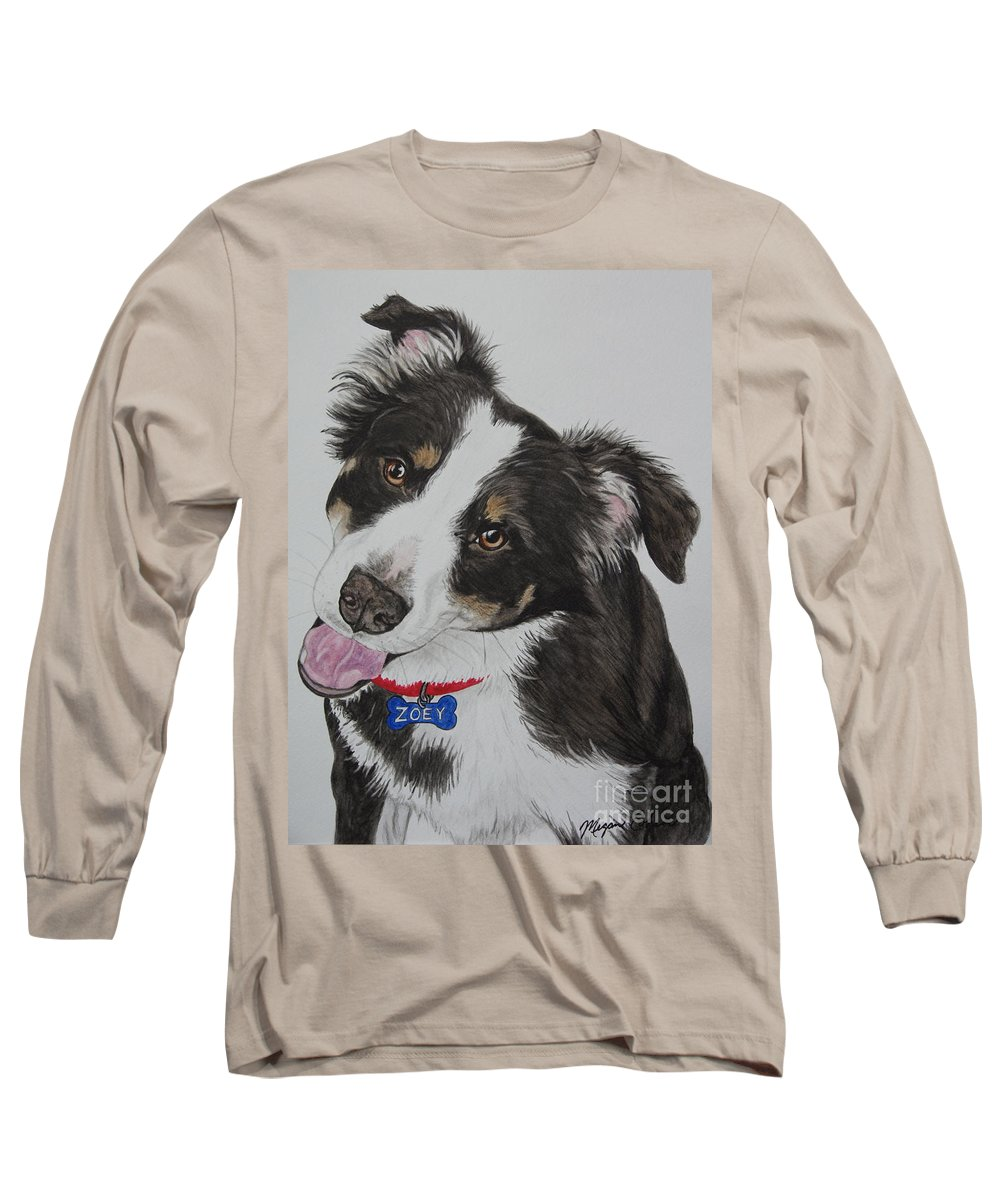 Dog Long Sleeve T-Shirt featuring the painting Zoey by Megan Cohen