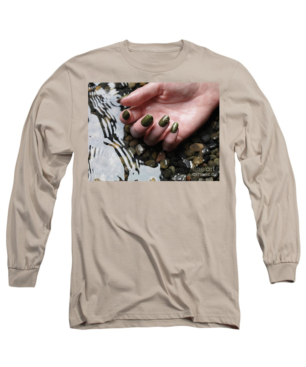 Manicure Long Sleeve T-Shirt featuring the photograph Woman Hand In Water by Maxim Images Prints