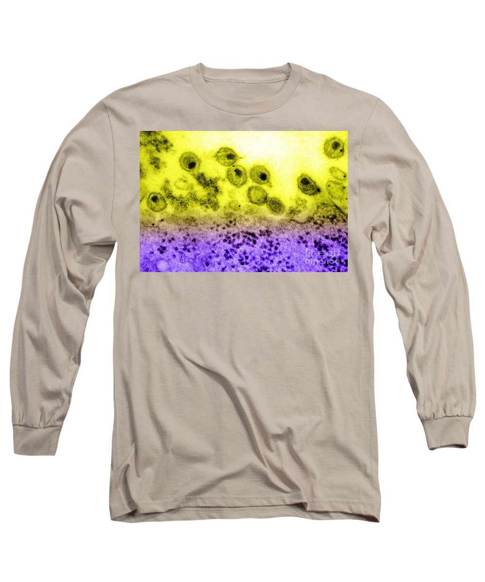 Disease Long Sleeve T-Shirt featuring the photograph Aids Virus, Tem by Science Source