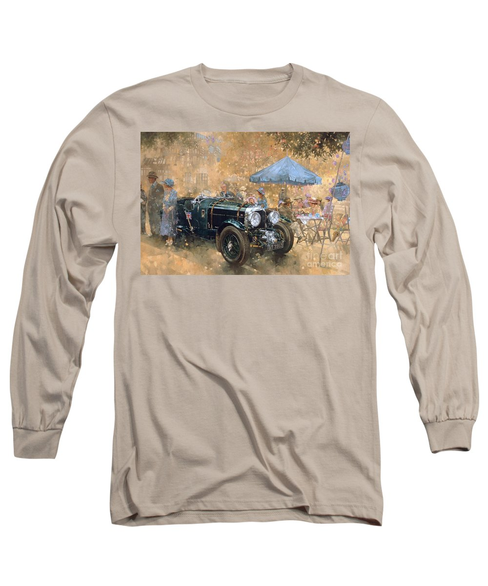 Bentley Long Sleeve T-Shirt featuring the painting Garden Party With The Bentley by Peter Miller