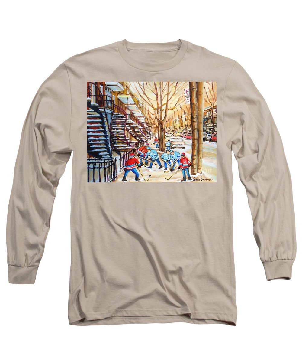 Montreal Long Sleeve T-Shirt featuring the painting Hockey Game Near Winding Staircases by Carole Spandau
