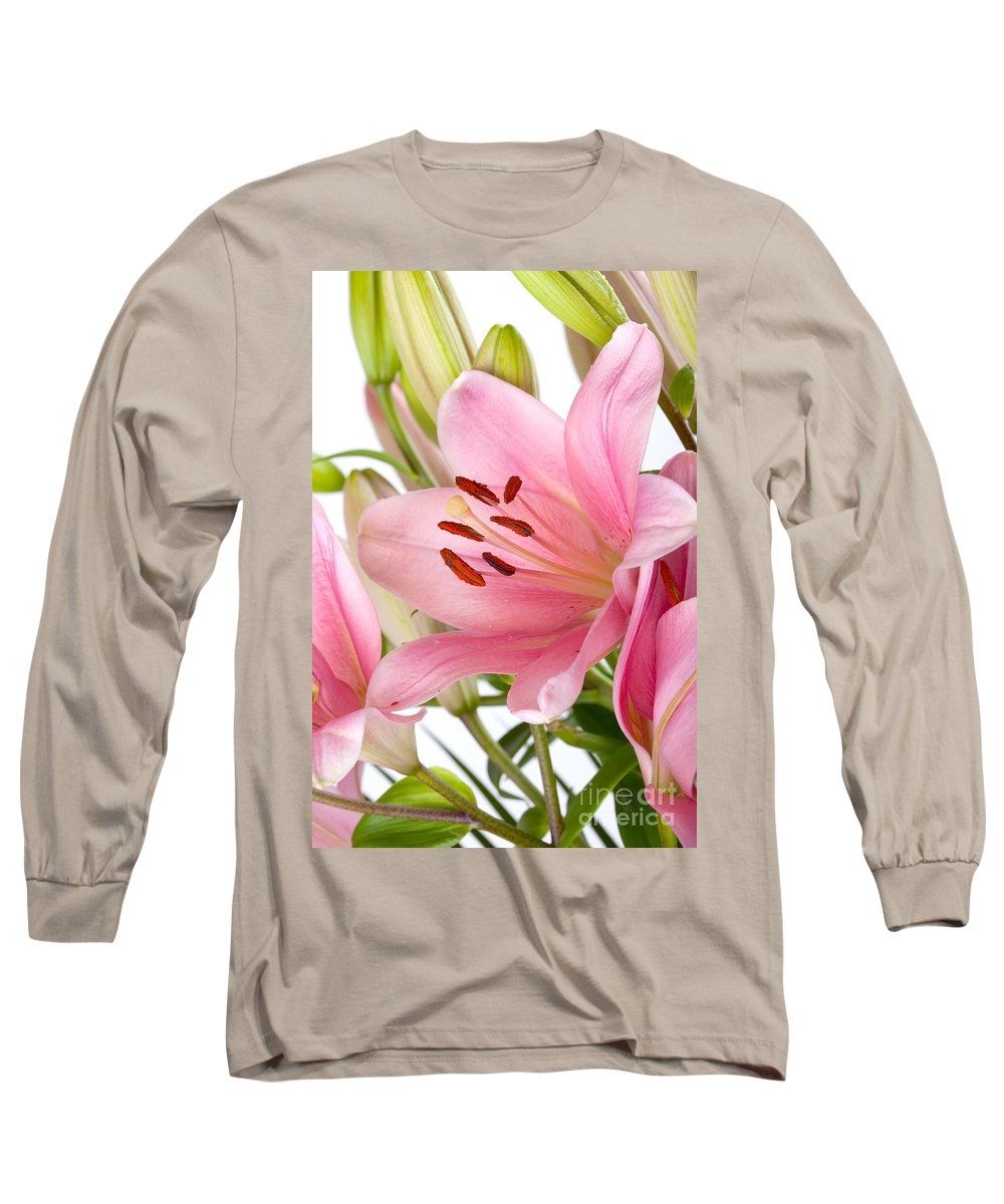 Lily Long Sleeve T-Shirt featuring the photograph Pink Lilies 05 by Nailia Schwarz