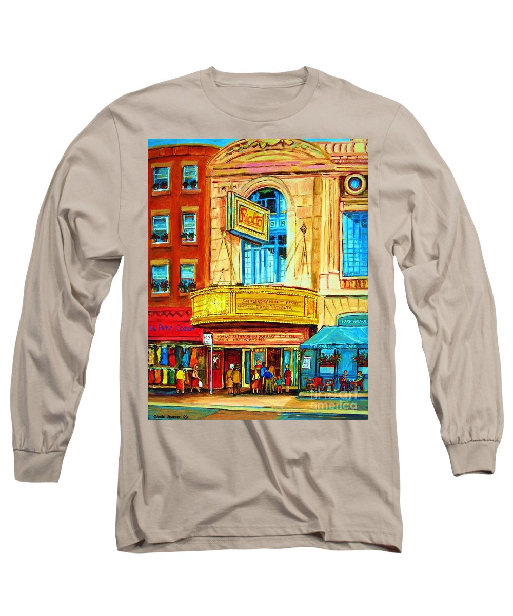 Street Scene Long Sleeve T-Shirt featuring the painting The Rialto Theatre by Carole Spandau