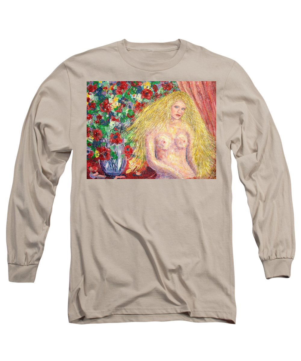 Nude Long Sleeve T-Shirt featuring the painting Nude Fantasy by Natalie Holland