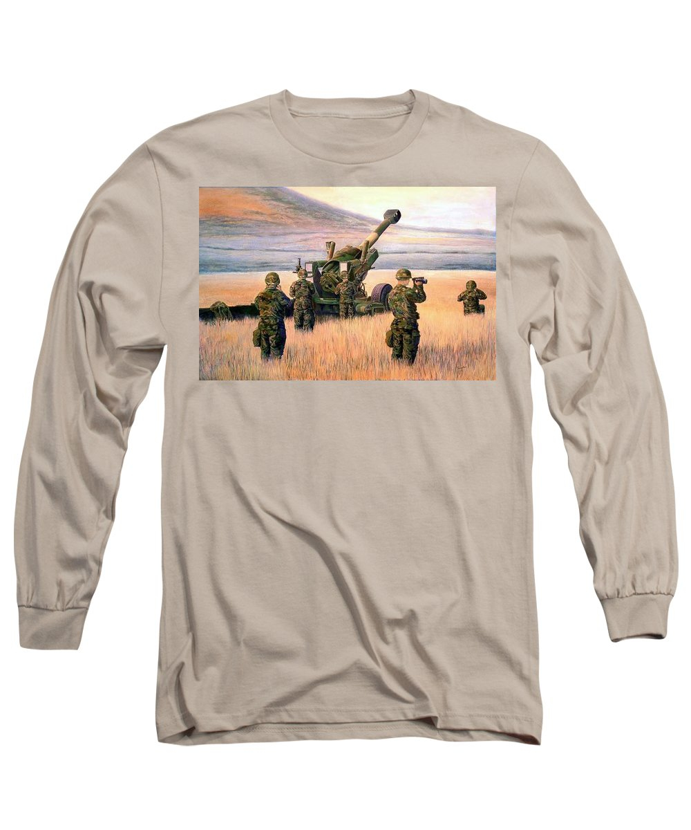 Signed And Numbered Prints Of The Montana National Guard Long Sleeve T-Shirt featuring the print 1-190th Artillery by Scott Robertson