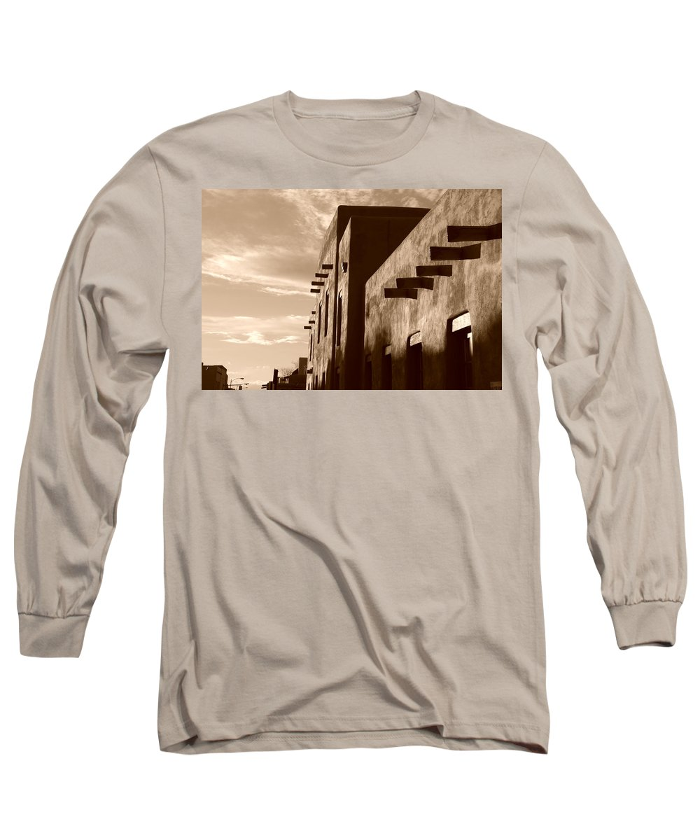 Architecture Long Sleeve T-Shirt featuring the photograph Adobe Sunset by Rob Hans